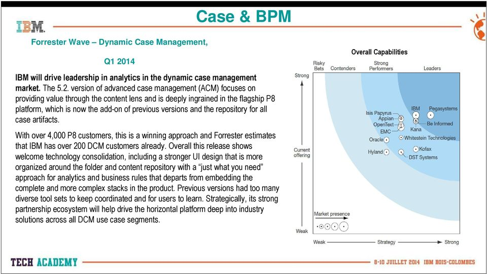 version of advanced case management (ACM) focuses on providing value through the content lens and is deeply ingrained in the flagship P8 platform, which is now the add-on of previous versions and the