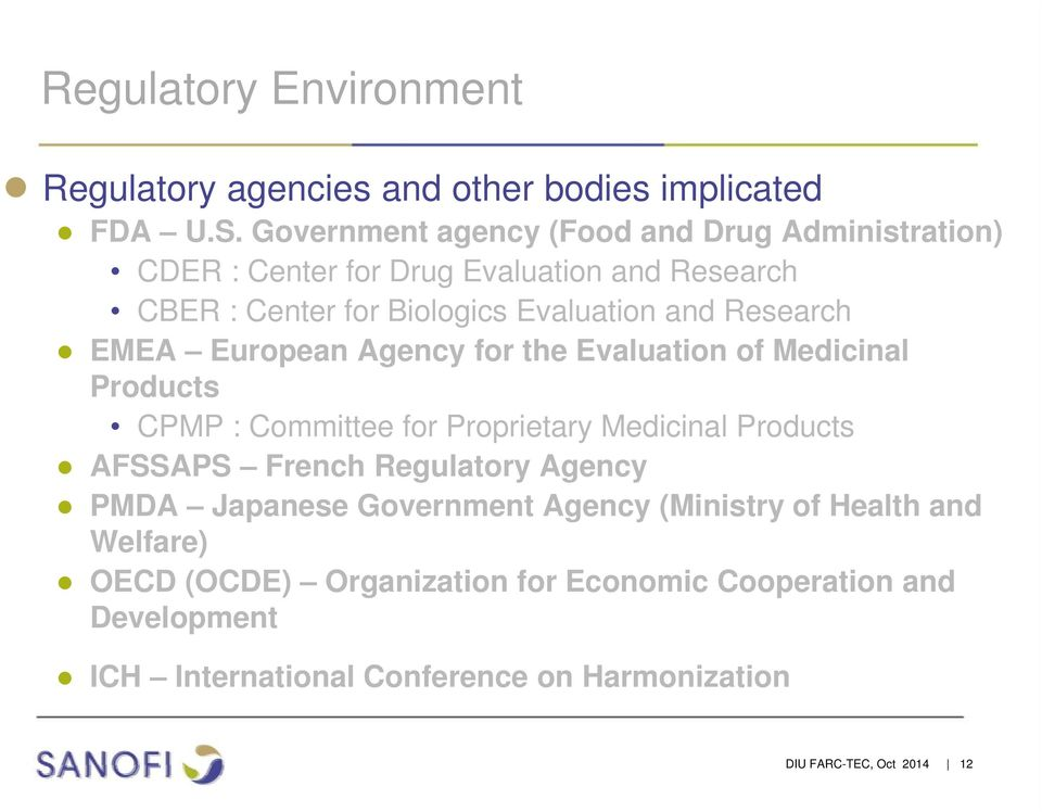 Research EMEA European Agency for the Evaluation of Medicinal Products CPMP : Committee for Proprietary Medicinal Products AFSSAPS French