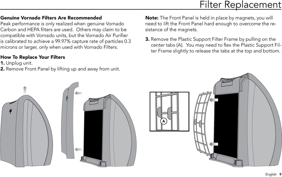 3 microns or larger, only when used with Vornado Filters. How To Replace Your Filters 1. Unplug unit. 2. Remove Front Panel by lifting up and away from unit.