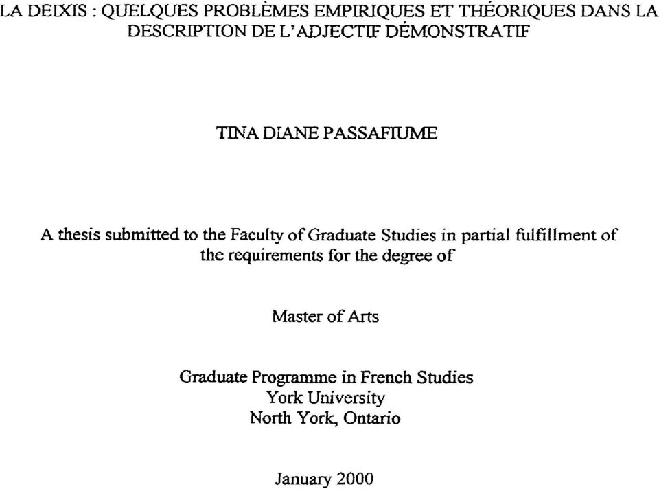 of Graduate Studies in partial WfiIIment of the requirements for the degree of