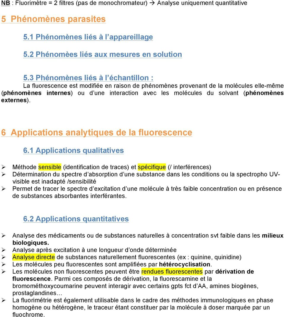 externes). 6 Applicatins analytiques de la flurescence 6.