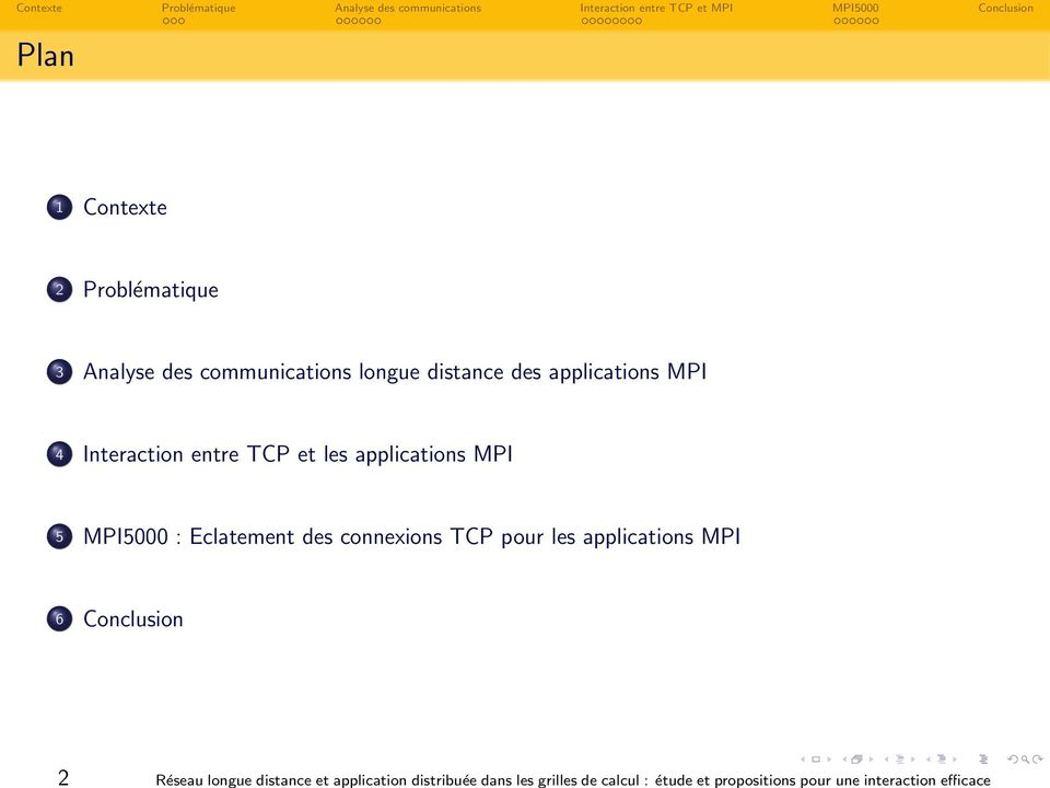 communications longue distance des applications MPI 4 Interaction entre TCP et les