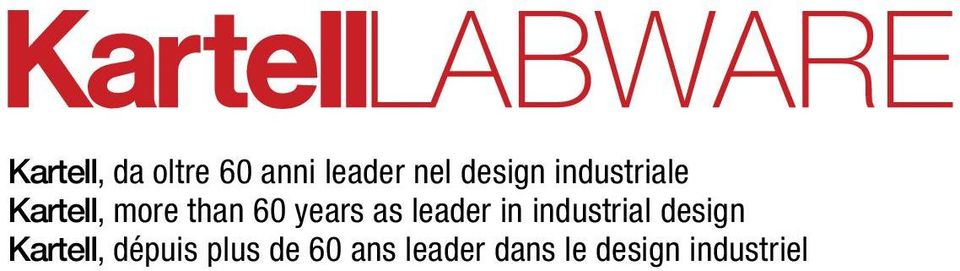 leader in industrial design Kartell, dépuis
