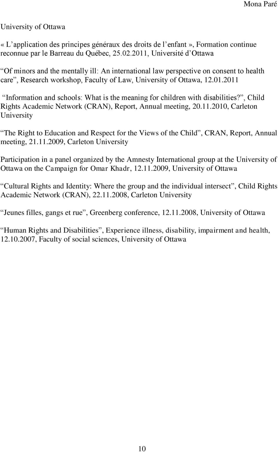, Child Rights Academic Network (CRAN), Report, Annual meeting, 20.11.