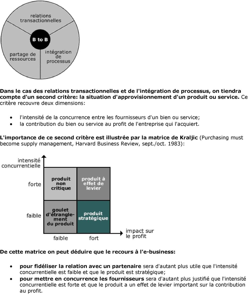 L'importance de ce second critère est illustrée par la matrice de Kraljic (Purchasing must become supply management, Harvard Business Review, sept./oct.