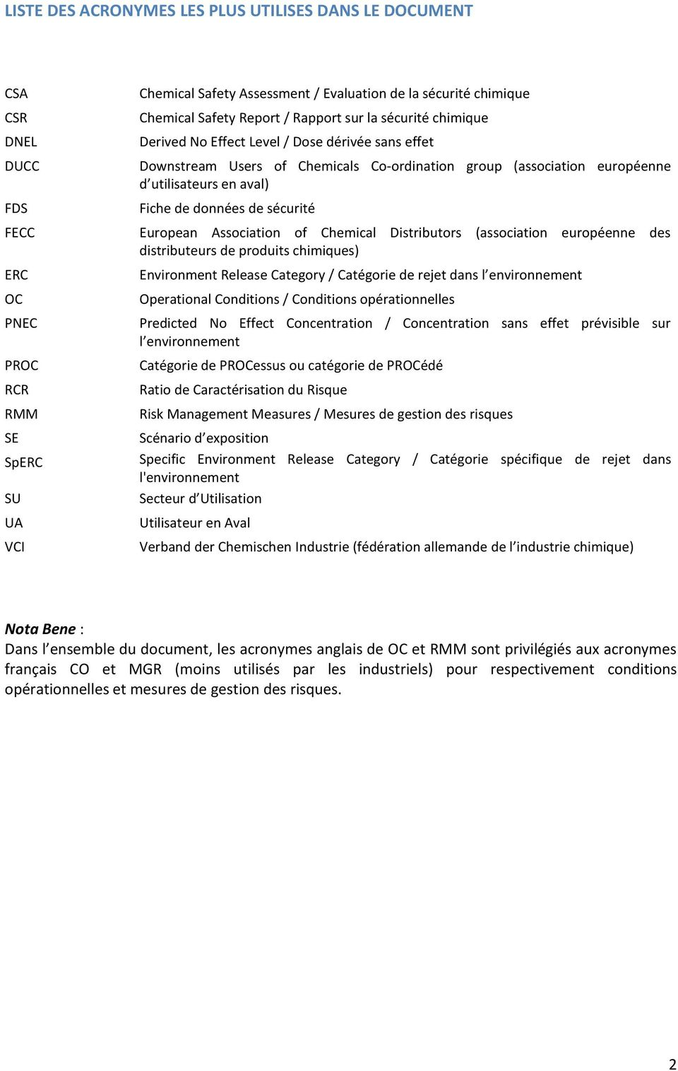 Association of Chemical Distributors (association européenne des distributeurs de produits chimiques) ERC OC PNEC PROC RCR RMM SE SpERC SU UA VCI Environment Release Category / Catégorie de rejet