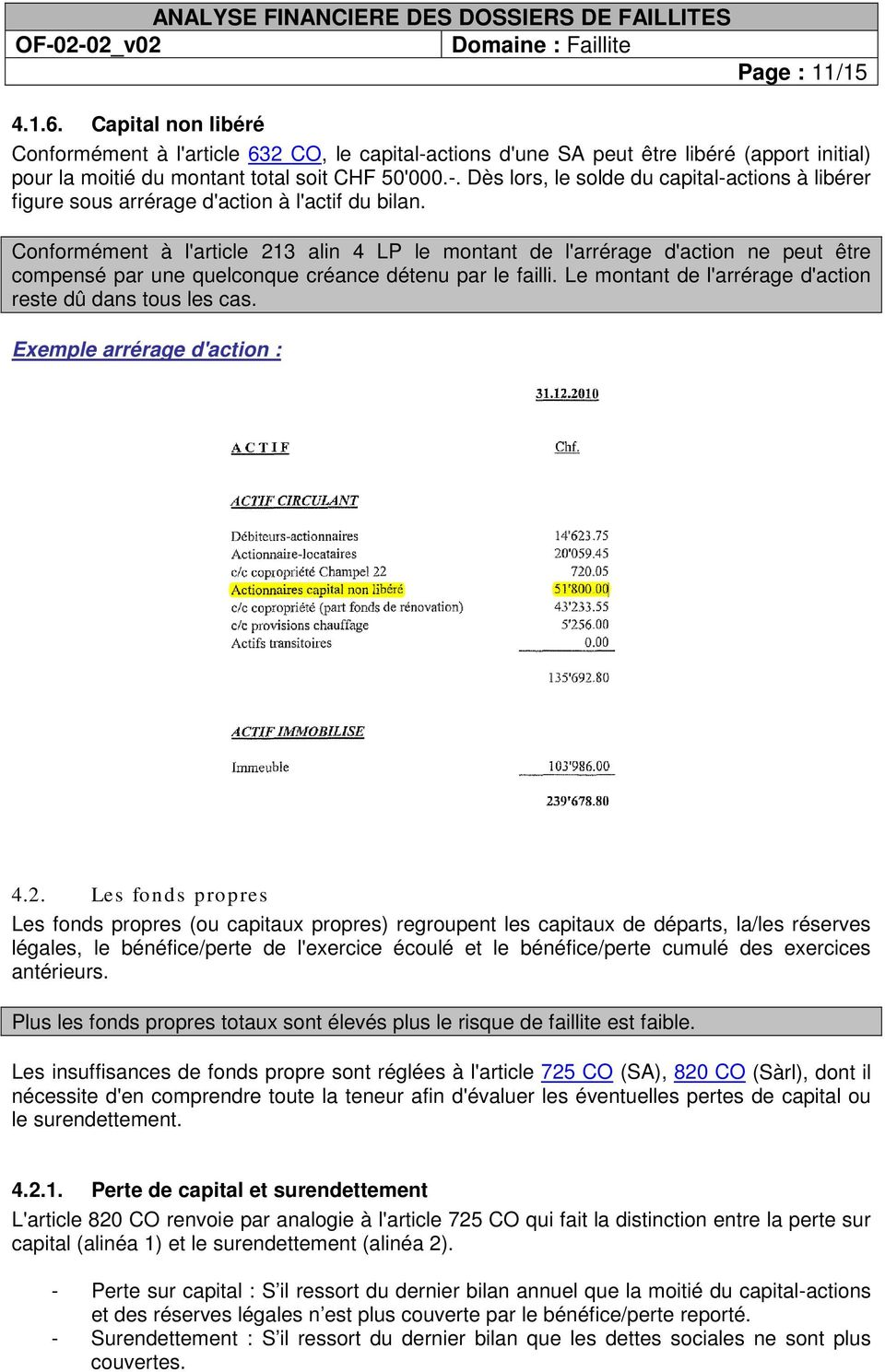 Exemple arrérage d'actin : 4.2.