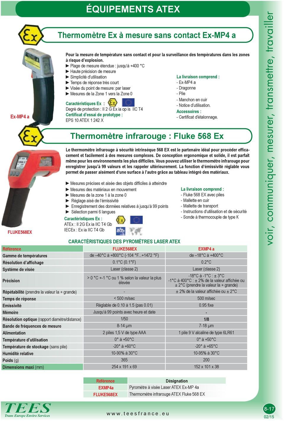 Ex : Degré de protection : II 2 G Ex i op is IIC T4 Certifict d essi de prototype : EPS 10 ATEX 1 242 X Thermomètre infrrouge : Fluke 568 Ex e thermomètre infrrouge à sécurité intrinsèque 568 EX est