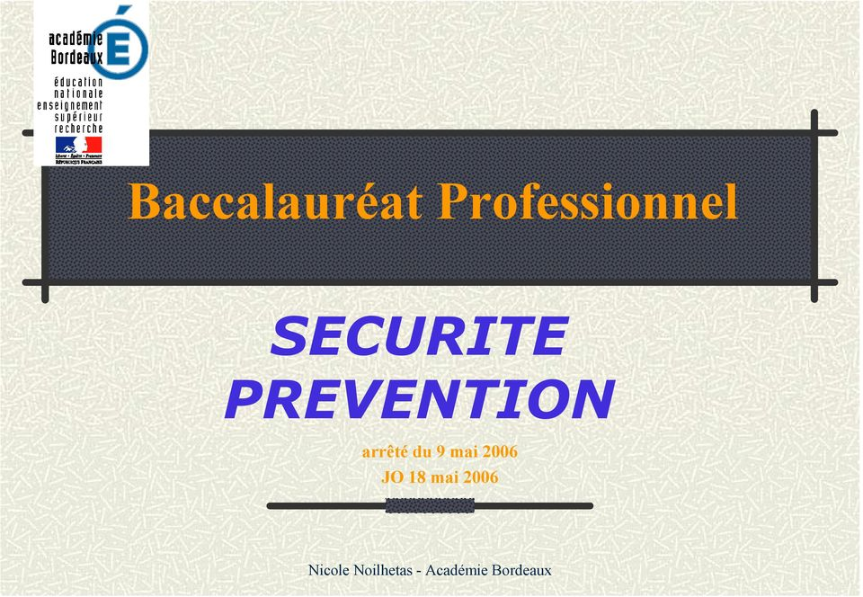 SECURITE PREVENTION