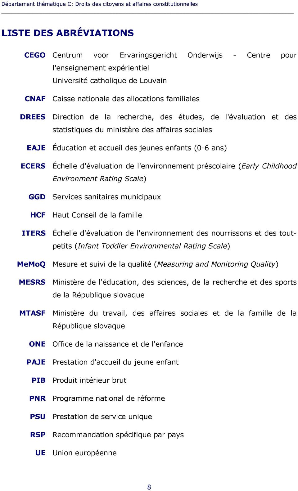 Éducation et accueil des jeunes enfants (0-6 ans) ECERS Échelle d'évaluation de l'environnement préscolaire (Early Childhood Environment Rating Scale) GGD Services sanitaires municipaux HCF Haut