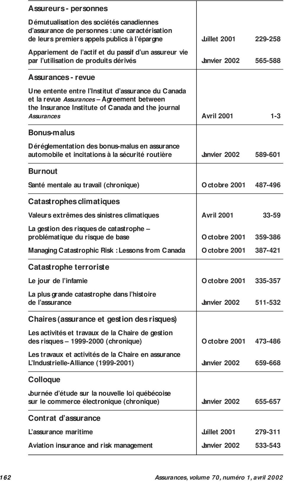 between the Insurance Institute of Canada and the journal Assurances Avril 2001 1-3 Bonus-malus Déréglementation des bonus-malus en assurance automobile et incitations à la sécurité routière Janvier