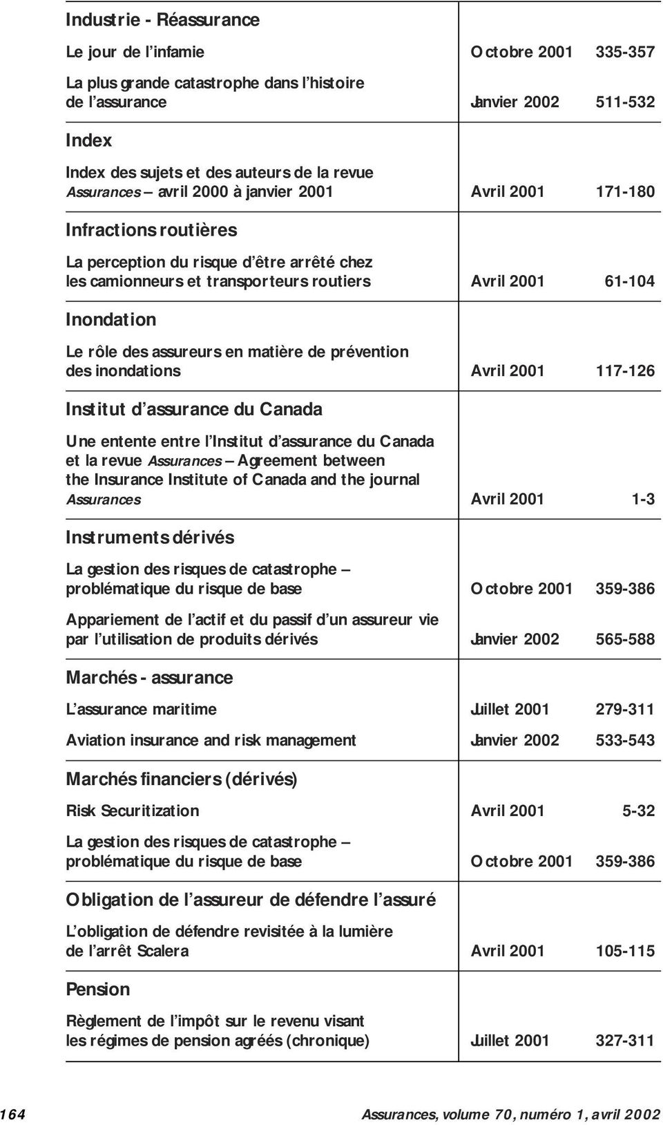 Canada Une entente entre l Institut d assurance du Canada et la revue Assurances Agreement between the Insurance Institute of Canada and the journal Assurances Avril 2001 1-3 Instruments dérivés La