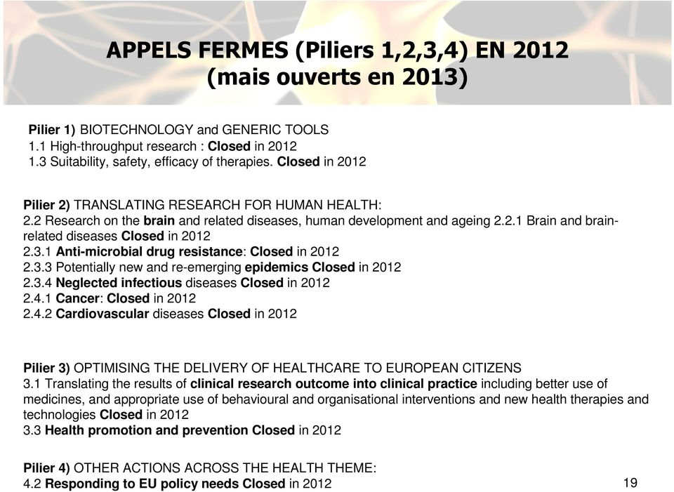 1 Anti-microbial drug resistance: Closed in 2012 2.3.3 Potentially new and re-emerging epidemics Closed in 2012 2.3.4