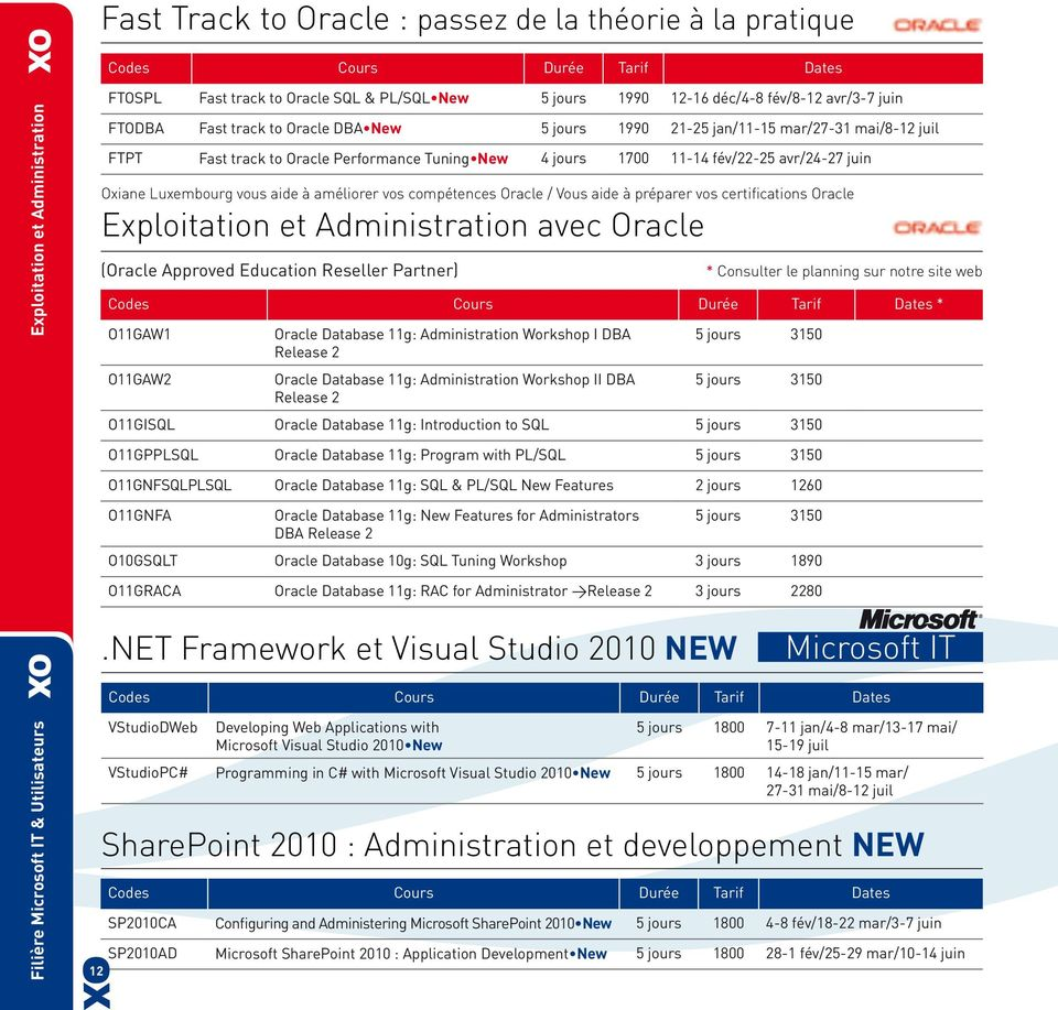 améliorer vos compétences Oracle / Vous aide à préparer vos certifications Oracle Exploitation et Administration avec Oracle (Oracle Approved Education Reseller Partner) * O11GAW1 O11GAW2 Oracle