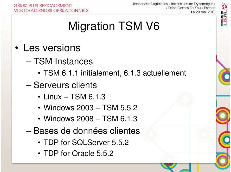 1.3 Windows 2003 TSM 5.5.2 Windows 2008 TSM 6.1.3 Bases de données clientes TDP for SQLServer 5.