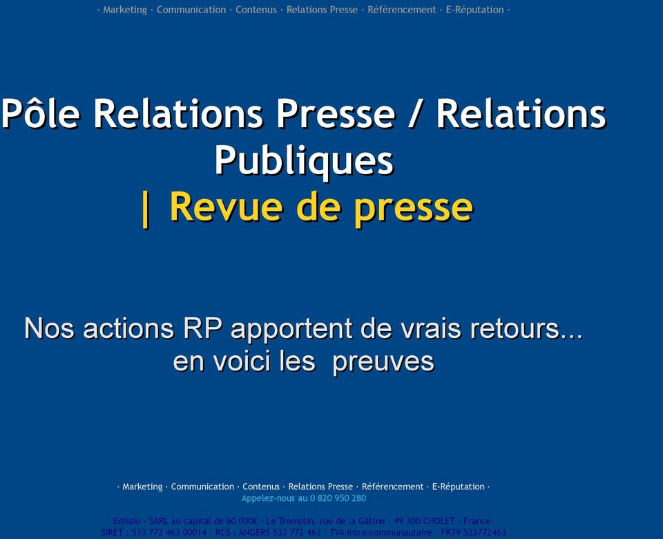 presse Nos actions RP apportent