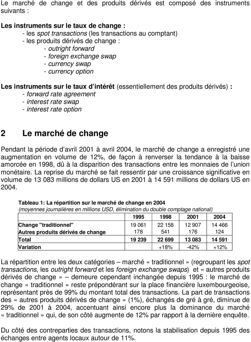 agreement - interest rate swap - interest rate option 2 Le marché de change Pendant la période d avril 2001 à avril 2004, le marché de change a enregistré une augmentation en volume de 12%, de façon