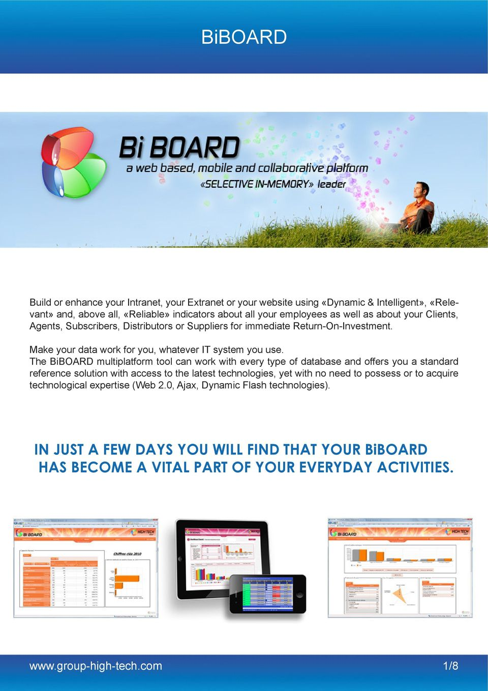 The BiBOARD multiplatform tool can work with every type of database and offers you a standard reference solution with access to the latest technologies, yet with no need to