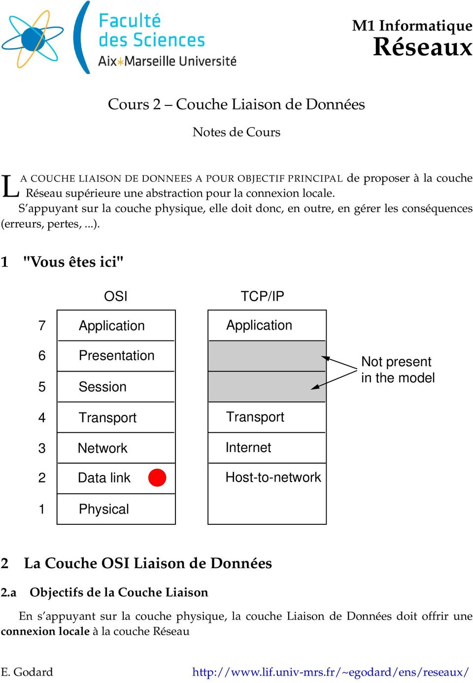"1 ""Vous êtes ici"" 7 OSI Application TCP/IP Application 6 5 Presentation Session Not present in the model 4 3 2 1 Transport Network Data link Physical Transport Internet Host-to-network 2"