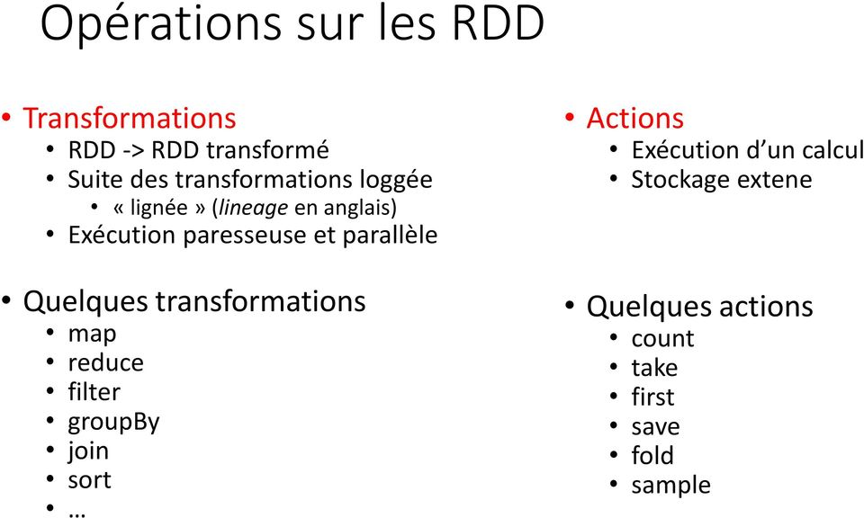 parallèle Quelques transformations map reduce filter groupby join sort Actions