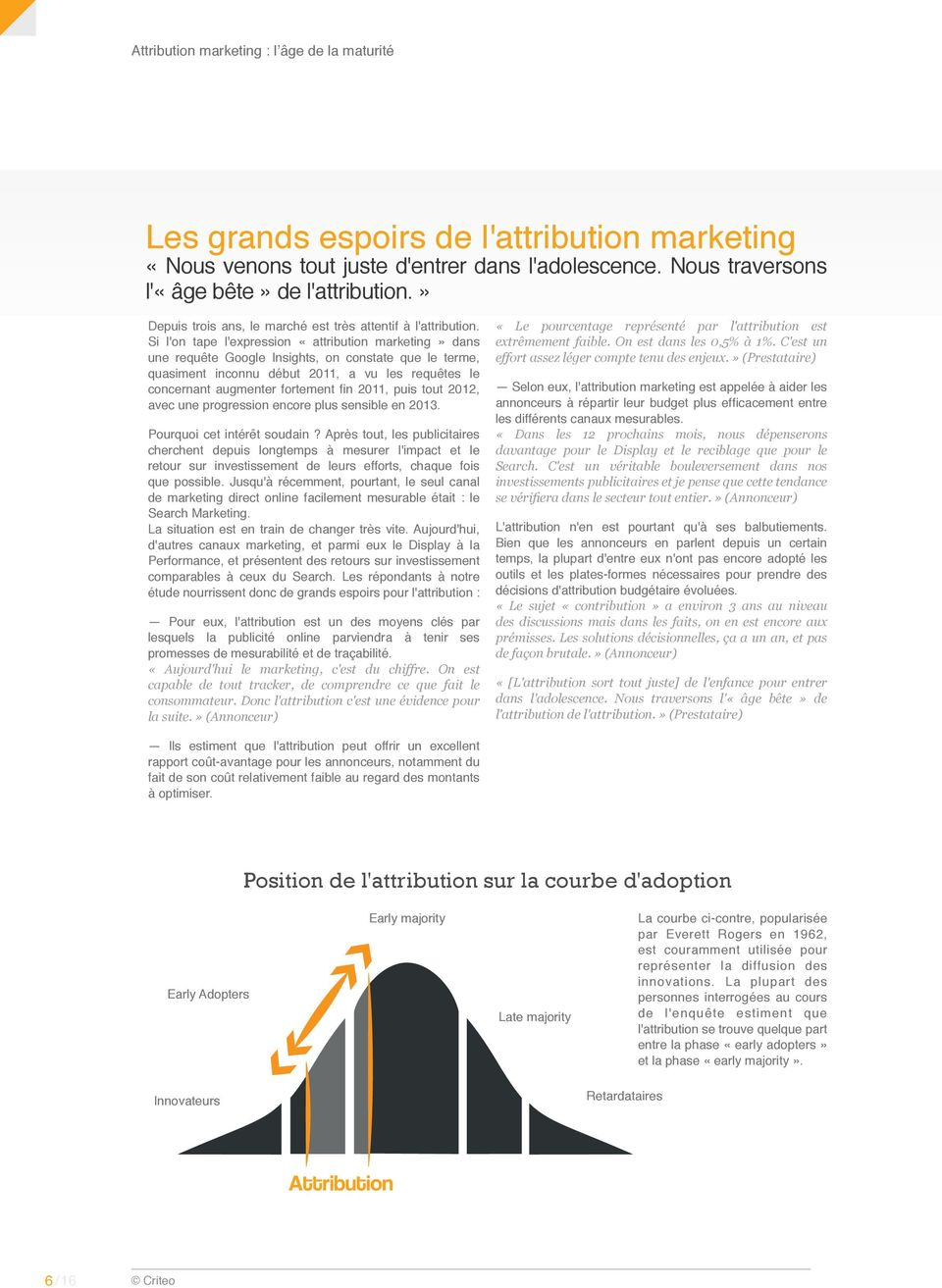 Si l'on tape l'expression «attribution marketing» dans une requête Google Insights, on constate que le terme, quasiment inconnu début 2011, a vu les requêtes le concernant augmenter fortement fin