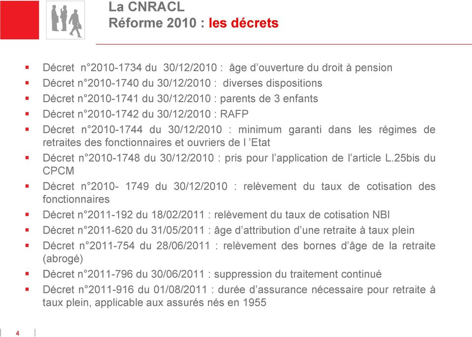 2010-1748 du 30/12/2010 : pris pour l application de l article L.