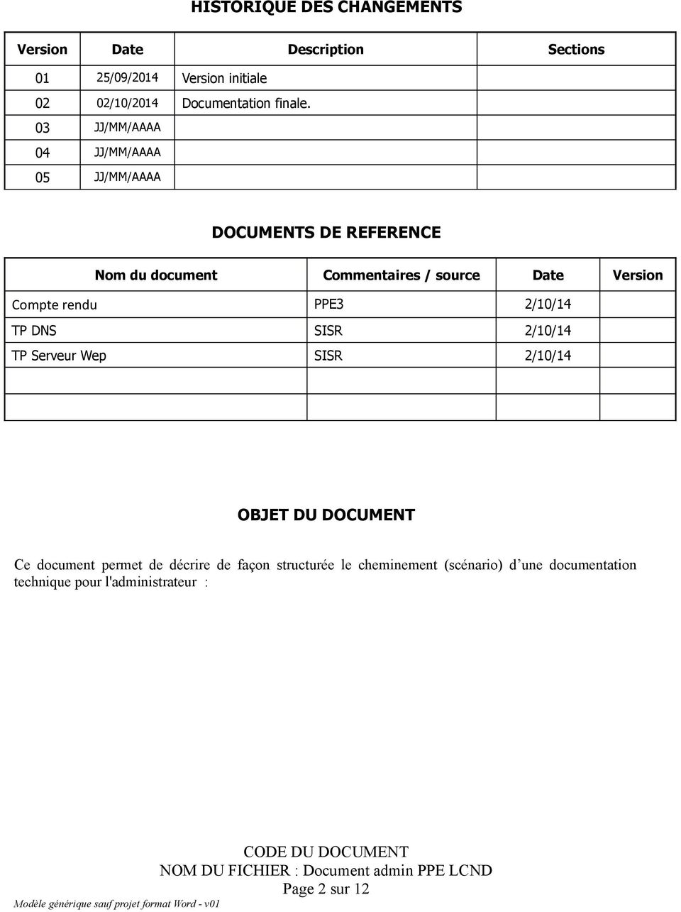 03 JJ/MM/AAAA 04 JJ/MM/AAAA 05 JJ/MM/AAAA DOCUMENTS DE REFERENCE Nom du document Commentaires / source Date Version