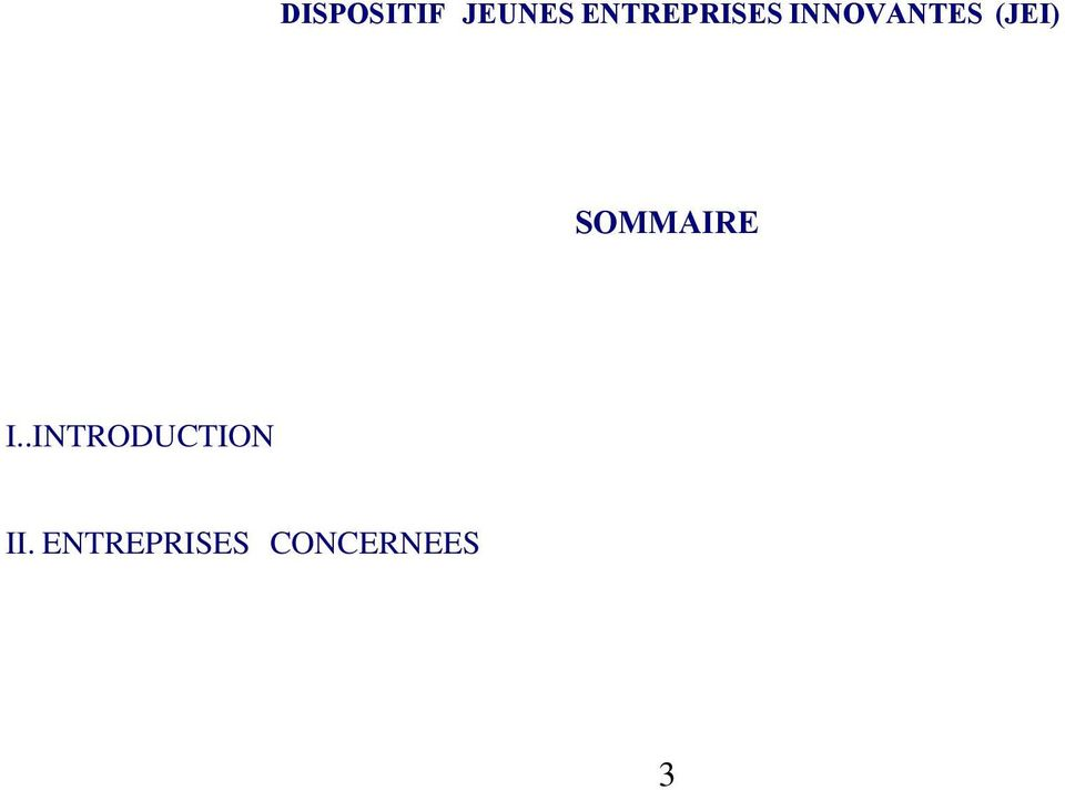 (JEI) SOMMAIRE I.
