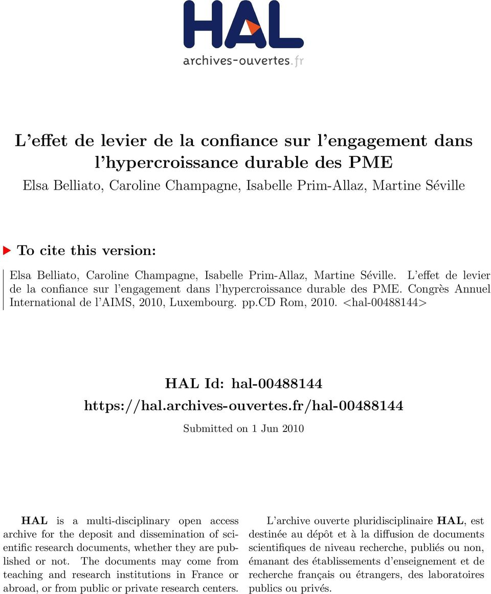 Congrès Annuel International de l AIMS, 2010, Luxembourg. pp.cd Rom, 2010. <hal-00488144> HAL Id: hal-00488144 https://hal.archives-ouvertes.