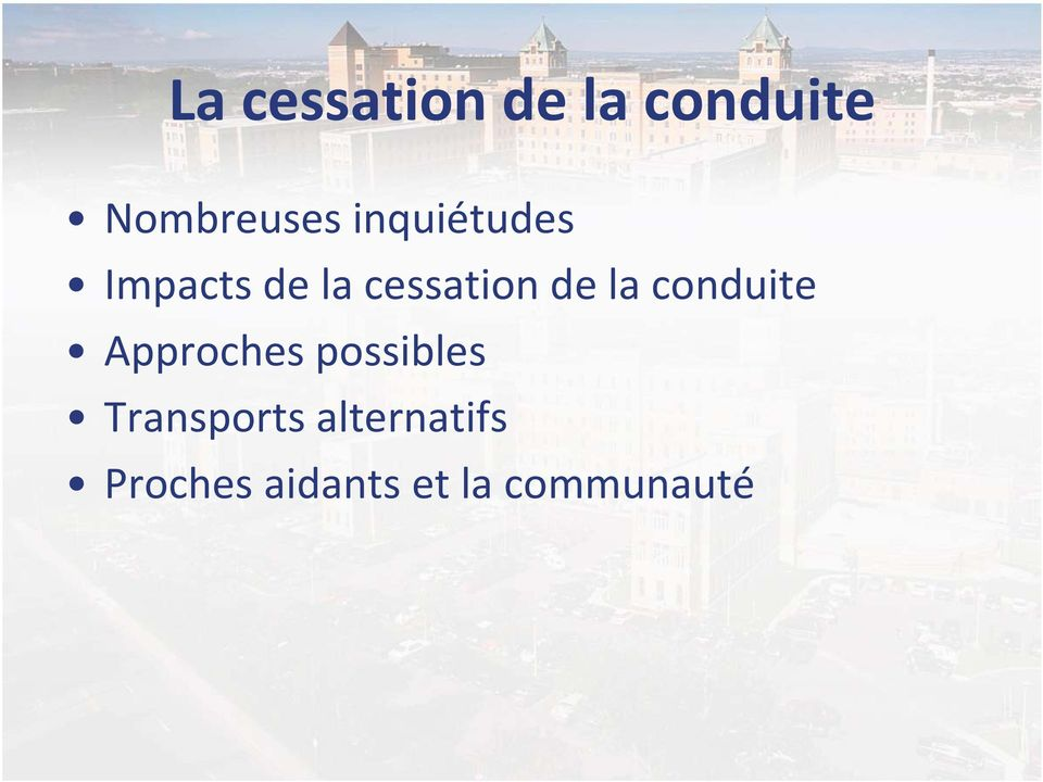 conduite Approches possibles Transports