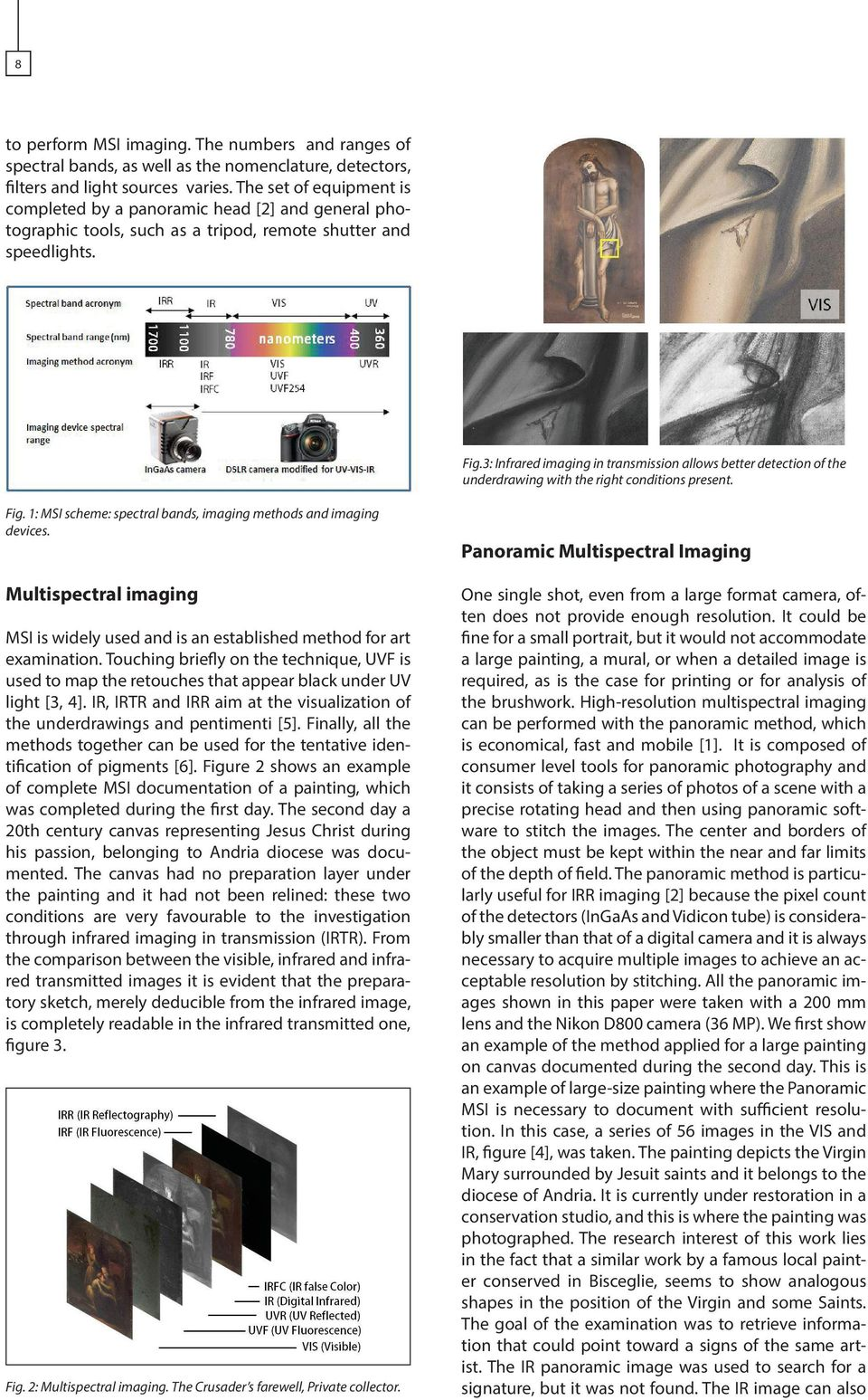 3: Infrared imaging in transmission allows better detection of the underdrawing with the right conditions present. Fig. 1: MSI scheme: spectral bands, imaging methods and imaging devices.