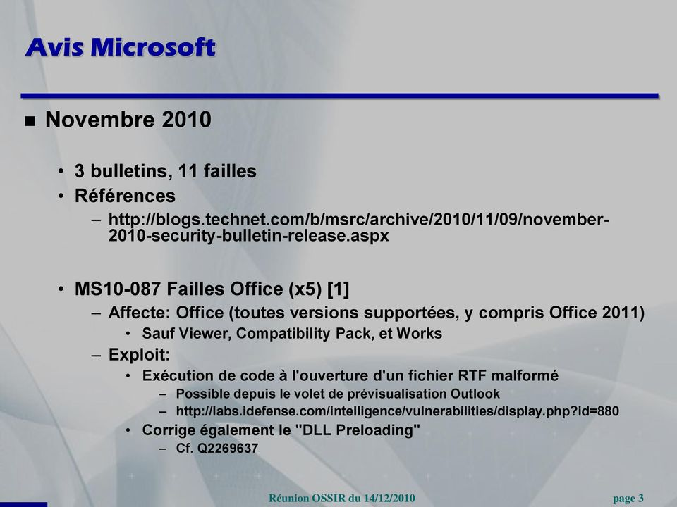 aspx MS10-087 Failles Office (x5) [1] Affecte: Office (toutes versions supportées, y compris Office 2011) Sauf Viewer, Compatibility Pack,