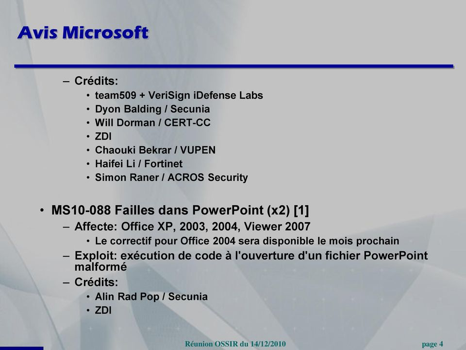 [1] Affecte: Office XP, 2003, 2004, Viewer 2007 Le correctif pour Office 2004 sera disponible le mois prochain