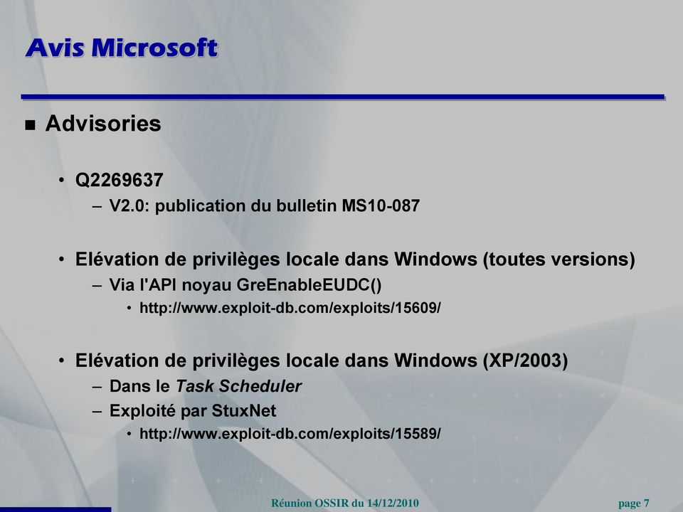 versions) Via l'api noyau GreEnableEUDC() http://www.exploit-db.