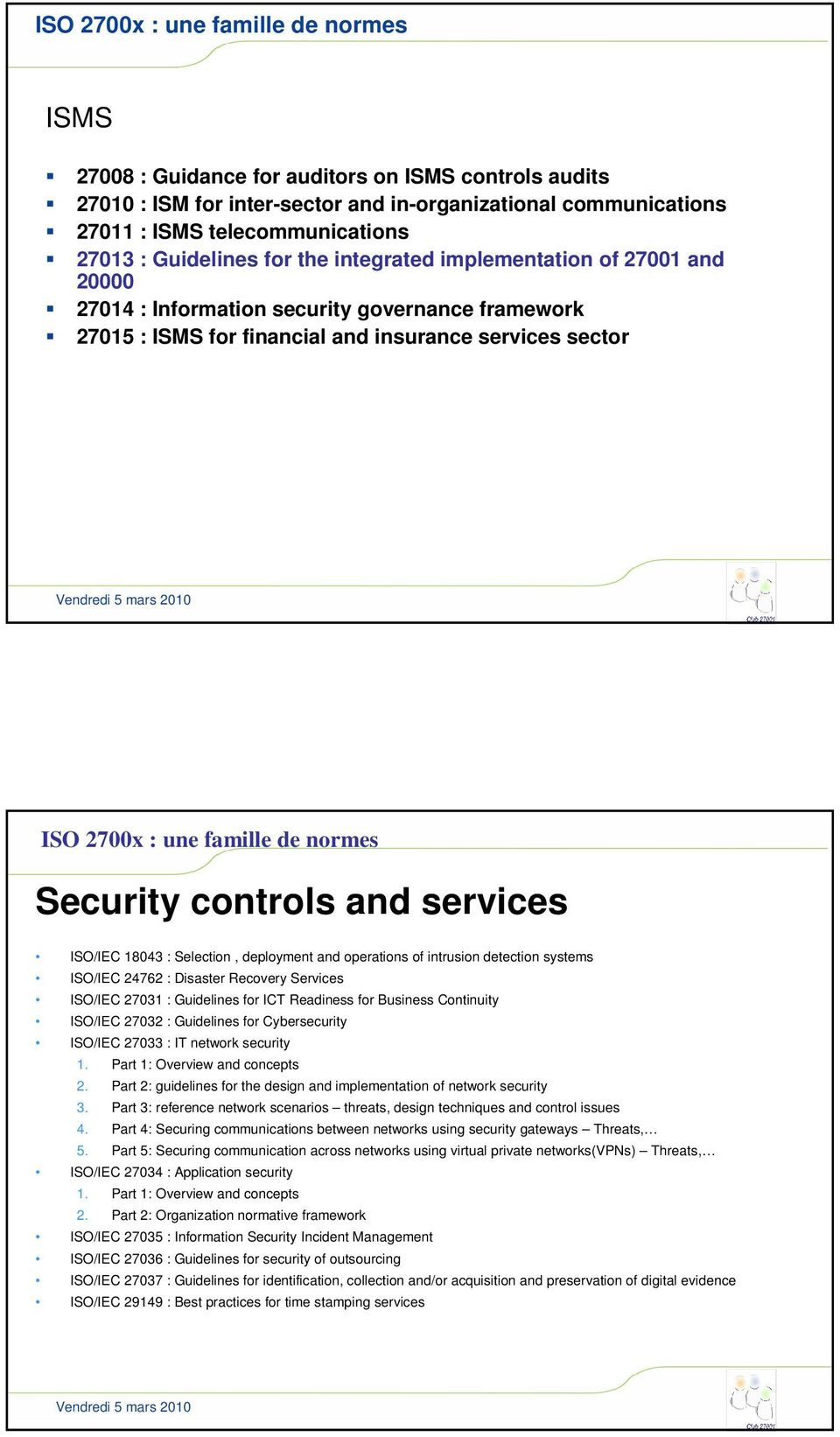 normes Security controls and services /IEC 18043 : Selection, deployment and operations of intrusion detection systems /IEC 24762 : Disaster Recovery Services /IEC 27031 : Guidelines for ICT