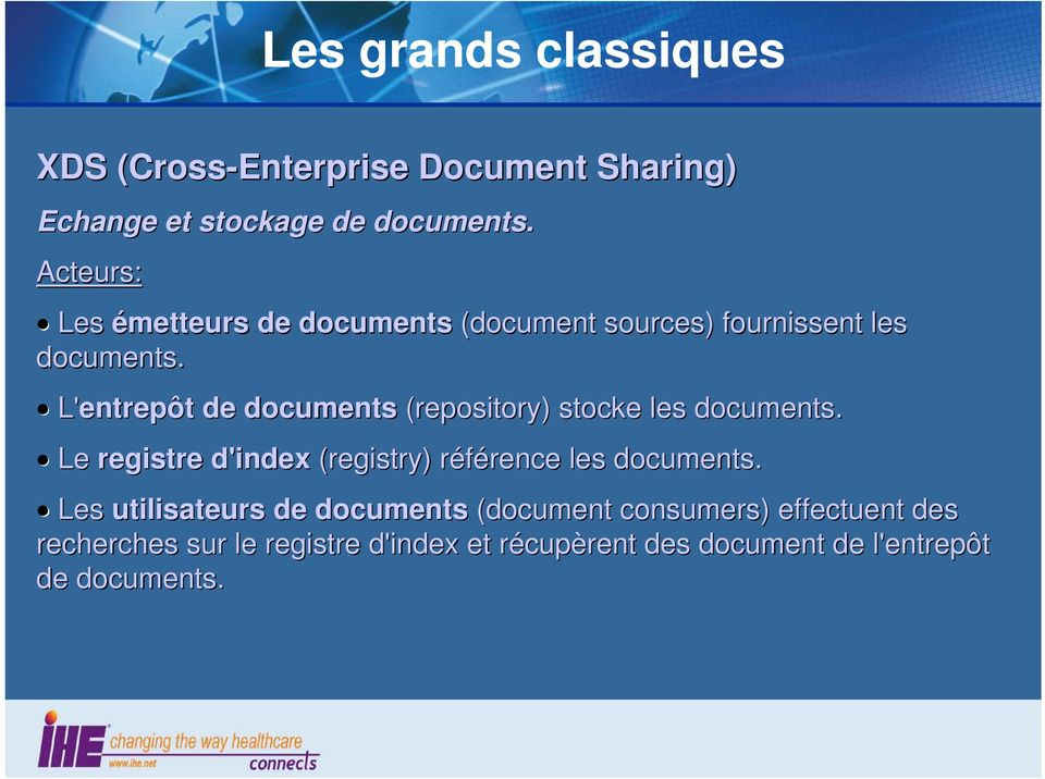 L'entrepôt de documents (repository) stocke les documents.