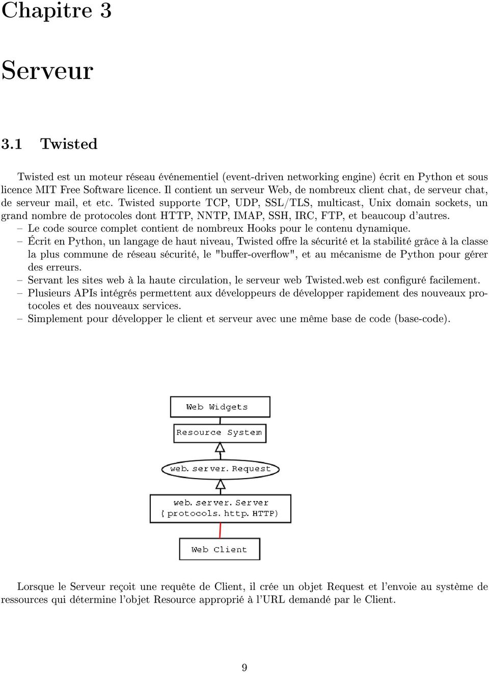 Twisted supporte TCP, UDP, SSL/TLS, multicast, Unix domain sockets, un grand nombre de protocoles dont HTTP, NNTP, IMAP, SSH, IRC, FTP, et beaucoup d'autres.