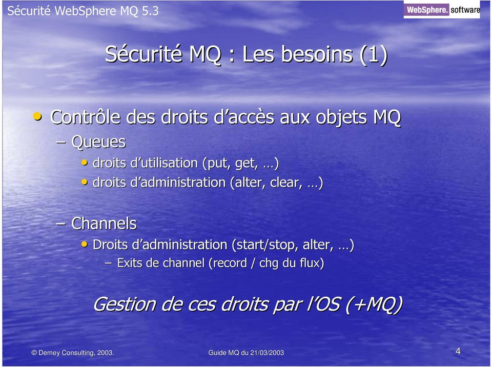 Droits d administration (start( start/stop, alter,, ) Exits de channel (record / chg du