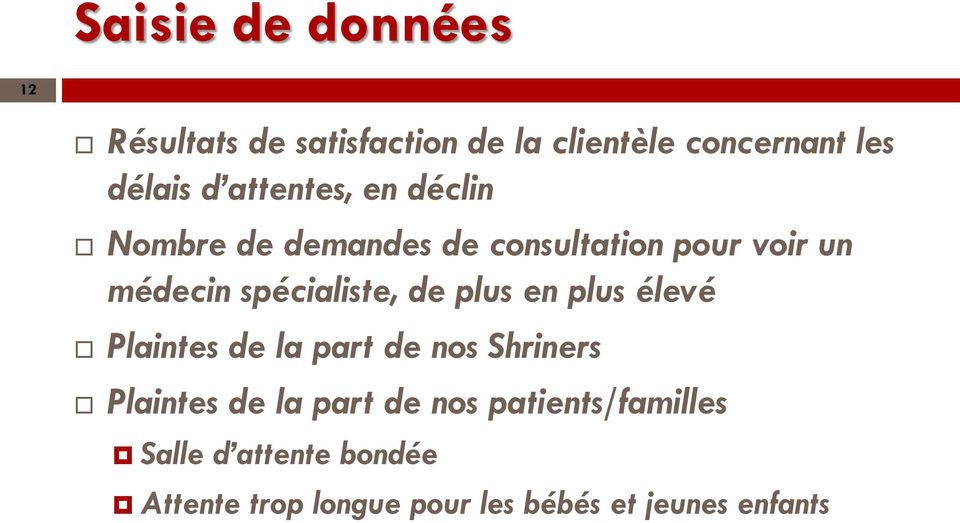 de plus en plus élevé Plaintes de la part de nos Shriners Plaintes de la part de nos