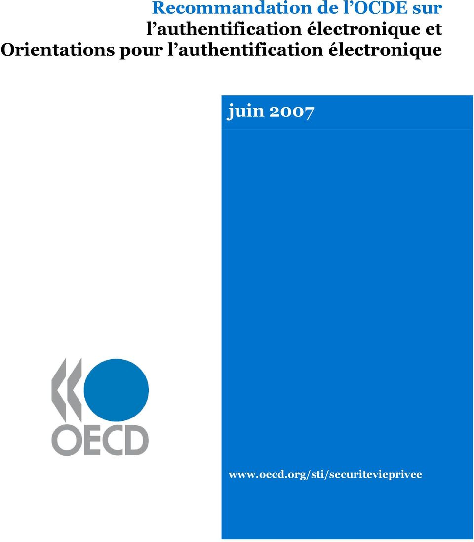 Orientations pour l authentification