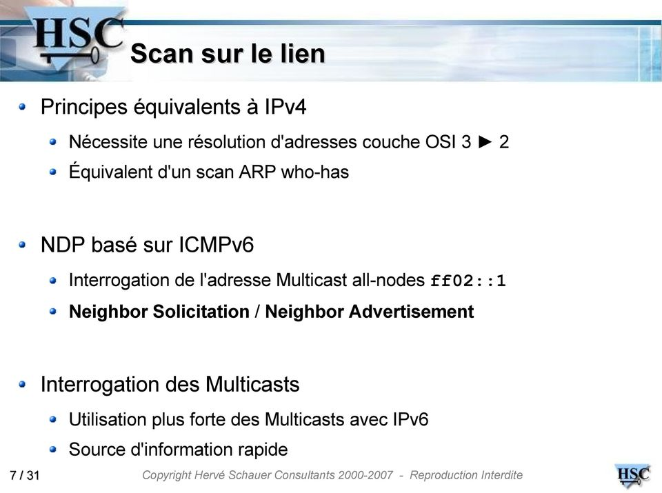 Multicast all-nodes ff02::1 Neighbor Solicitation / Neighbor Advertisement Interrogation