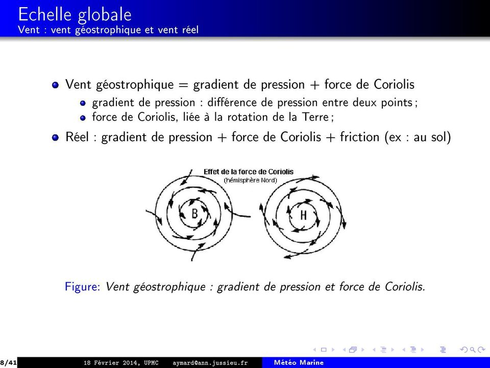 rotation de la Terre ; Réel : gradient de pression + force de Coriolis + friction (ex : au sol) Figure: Vent