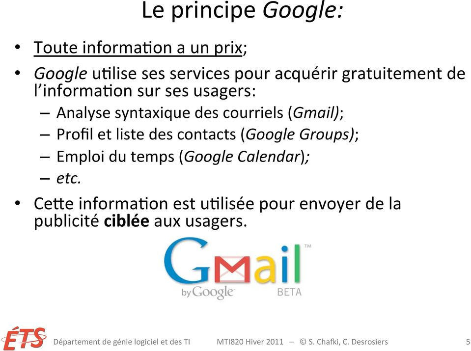 (Google Groups); Emploi du temps (Google Calendar); etc.
