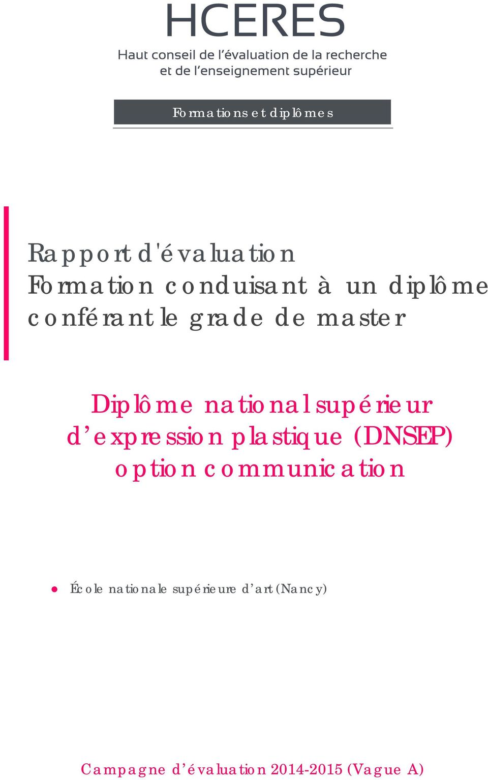 d expression plastique (DNSEP) option communication École
