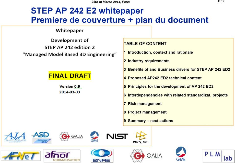 AP 242 ED2 4 Proposed AP242 ED2 technical content 5 Principles for the development of AP 242 ED2 6