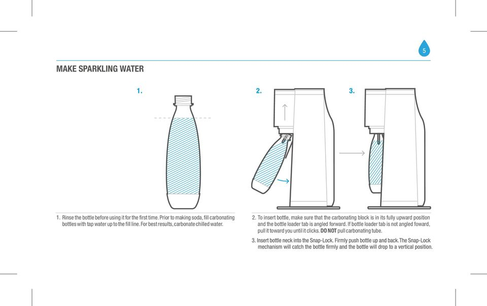 For best results, carbonate chilled water. 2.