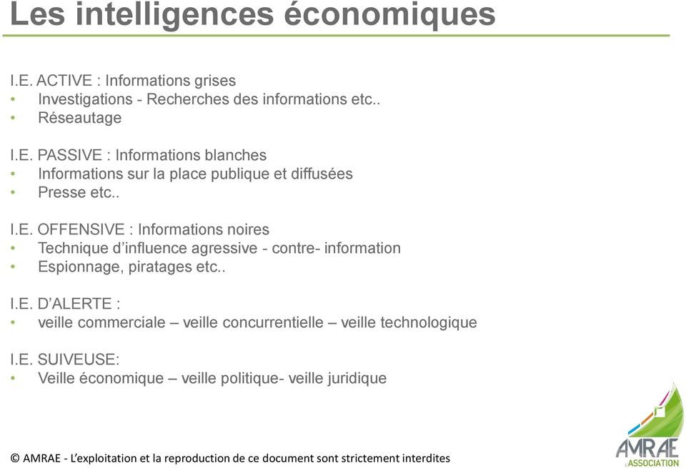 PASSIVE : Informations blanches Informations sur la place publique et diffusées Presse etc.. I.E. OFFENSIVE : Informations noires Technique d influence agressive - contre- information Espionnage, piratages etc.