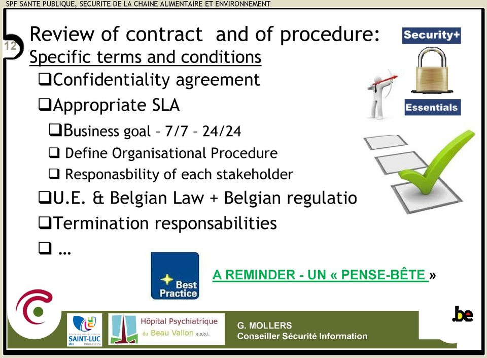 Organisational Procedure Responasbility of each stakeholder U.E.
