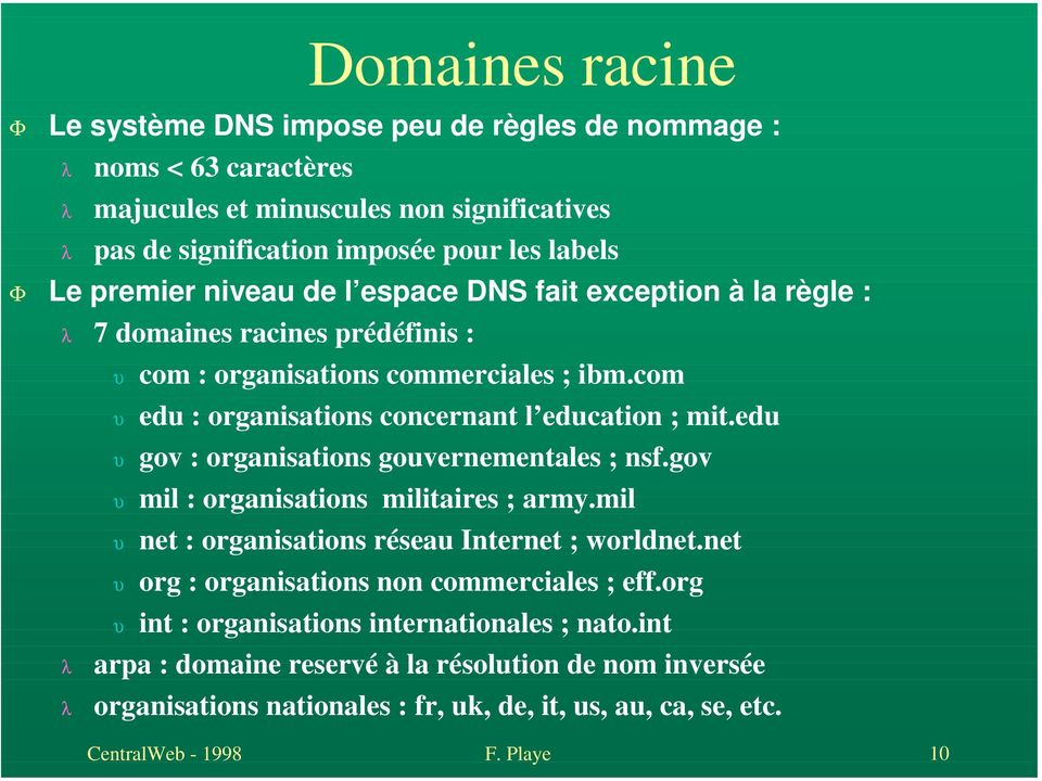 edu gov : organisations gouvernementales ; nsf.gov mil : organisations militaires ; army.mil net : organisations réseau Internet ; worldnet.net org : organisations non commerciales ; eff.