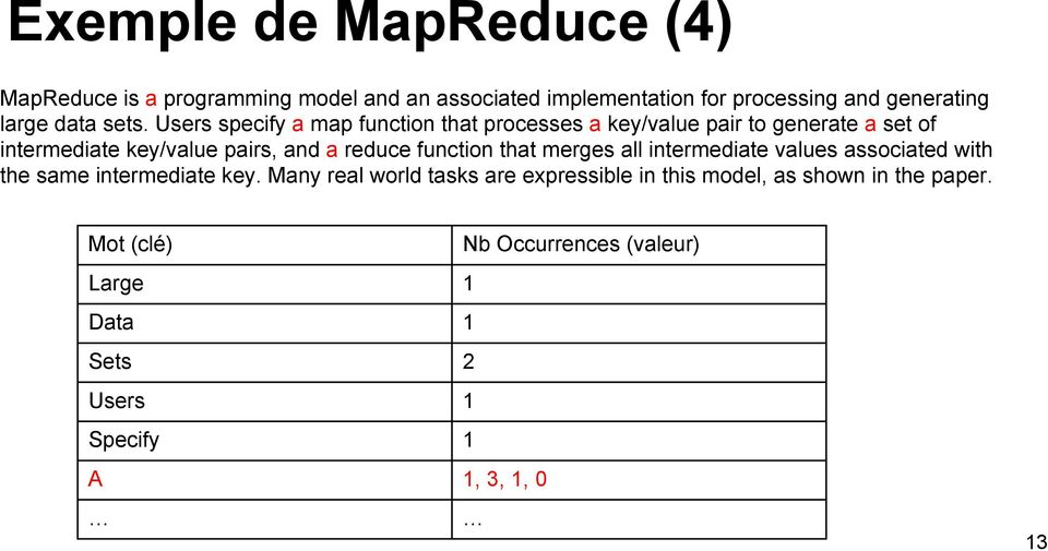 Users specify a map function that processes a key/value pair to generate a set of intermediate key/value pairs, and a reduce